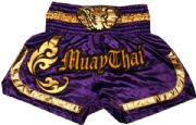 Muay Thai short purple and gold with head elephant