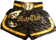 Muay Thai short black, gold with head elephant
