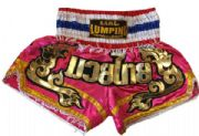 Muay Thai short pink,gold,Thai flag letters Mauy Thai in Thai