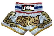 Muay Thai short white,gold,Thai flag letters Mauy Thai in Thai