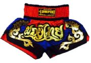 Muay Thai short red,blue,black letters Mauy Thai in Thai
