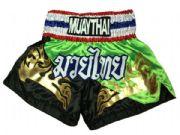 Muay Thai short black,lime green,Thai flag