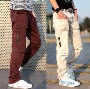 เสื้อผ้าผู้ชาย : กางเกงแต่งซิปข้าง/เข่าจับจีบ