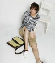 กระเป๋าแฟชั่น : กระเป๋าสะพาย canvas unisex แต่งหนัง