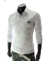 เสื้อกันหนาวผู้ชายพร้อมส่ง : เสื้อ polo แขนยาวหน้าอกปัก w