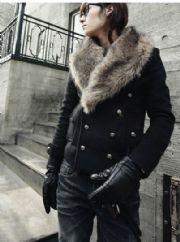 เสื้อกันหนาวผู้ชายพร้อมส่ง : โค้ท wool double breast ปก fur
