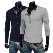เสื้อผ้าผู้ชายพร้อมส่ง : t-shirt คอสองชั้นสองสี