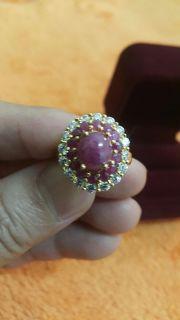 แหวนทอง99.99% พลอยแท้ ล้อมเพชร