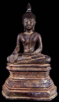 พระพุทธรูปศิลปสมัยอู่ทอง อิทธิพลพุกาม พม่า No.034