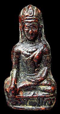 พระเทริดขนนก เนื้อชินตะกั่วสนิมแดง กรุวัดพระศรีรัตนมหาธาตุ จ.ลพบุรี No.078