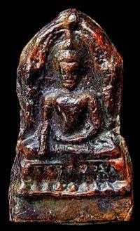 พระชินราชใบเสมา พิมพ์ฐานสูง เนื้อชินตะกั่วสนิมแดง กรุวัดพระศรีรัตนมหาธาตุ จ.พิษณุโลก No.081