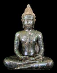 พระพุทธรูปเก่า ศิลปะสมัยอู่ทอง ปางสมาธิ เนื้อสำริดสนิมหยก No.086