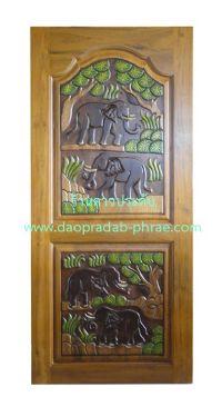 ประตูไม้สัก ช้างต้นไม้