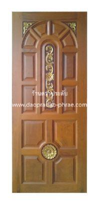 ประตูไม้สัก แกะดอกไม้