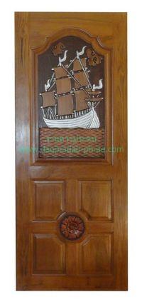 ประตูไม้สัก สำเภาเงิน