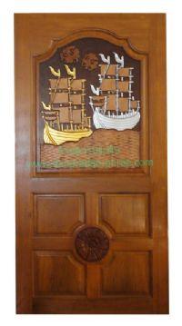ประตูไม้สัก สำเภาทอง-สำเภาเงิน