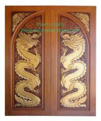 ประตูไม้สัก โค้งคู่มังกรมุมมังกร