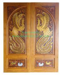 ประตูไม้สัก ไก่ฟ้าล่างฟักเงิน-ฟักทอง