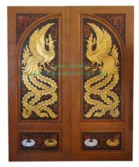 ประตูไม้สัก หงส์ล่างฟักเงิน-ฟักทอง