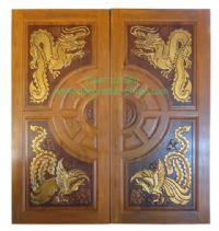 ประตูไม้สัก วงล้อมังกร-หงส์
