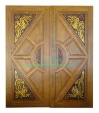 ประตูไม้สัก สามเหลี่ยมมังกร-หงส์