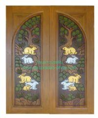 ประตูไม้สัก โค้งกระต่ายต้นไม้