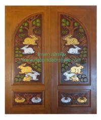 ประตูไม้สัก โค้งกระต่ายล่างฟักเงิน-ทอง