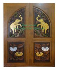 ประตูไม้สัก คู่ช้างล่างฟักเงิน-ฟักทอง