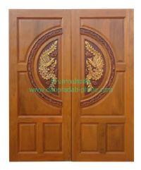 ประตูไม้สัก วงล้อหงส์ขอบลายไทย