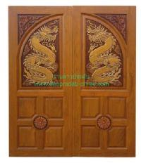 ประตูไม้สัก มังกรสี่ลูกฟักมุมดอก