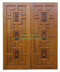 ประตูไม้สัก แกะกลางสามดอกไม้