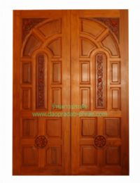 ประตูไม้สัก โค้งคู่ดอกไม้ 2