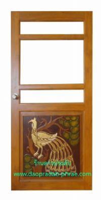 ประตูไม้สัก ครึ่งกระจกล่างหงส์