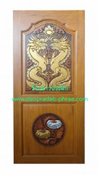 ประตูไม้สัก มังกรคู่ล่างฟักทอง