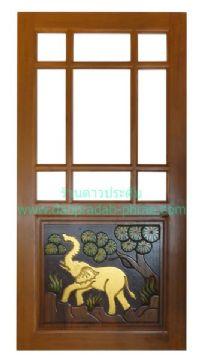 ประตูไม้สัก ครึ่งกระจกแบบจีน ล่างแกะช้าง