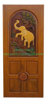 ประตูไม้สัก หัวโค้งแกะช้าง