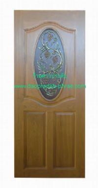 ประตูไม้สัก วงรีองุ่น