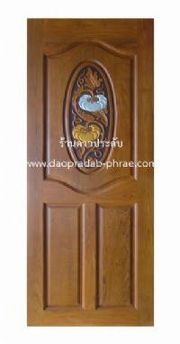 ประตูไม้สัก วงรีฟักเงิน-ฟักทอง