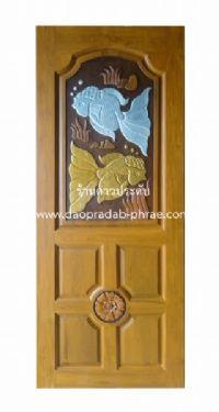 ประตูไม้สัก คู่ปลาเงินปลาทองใหญ่