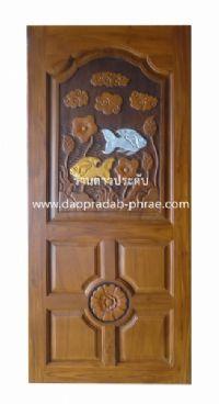 ประตูไม้สัก ปลาเงินปลาทอง