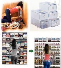 กล่องใส่รองเท้าคุณผู้หญิงสูงพิเศษ-สีใสแบบลิ้นชัก (232/2กล่อง)