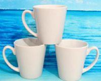 แก้วสกรีน แก้ว MUG สีขาวทรงกรวย (พร้อมกล่อง)