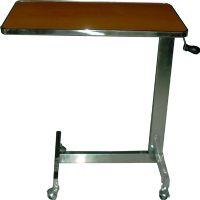 PS 40 โต๊ะคร่อมเตียง หน้าโต๊ะลายไม้ ขอบสแตนเลส