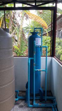 ติดตั้งถังกรองน้ำประปาหมู่บ้าน 40 X 120 Cm. พร้อมปั้มจ่ายน้ำเข้าเครื่องกรอง