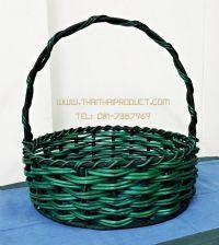 กระเช้าเถาวัลย์สีเขียว ทรงกลม (รับสั่งผลิต)