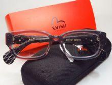 EVISU กรอบแว่นตา Acetate Frame สีดำกึ่งใส  ขาแว่นสีดำลายข้าวหลามตัด