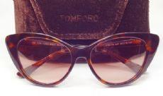 TOM FORD กรอบแว่นกันแดด Acetate Frame สีน้ำตาลกระ เลนส์ไล่สีน้ำตาล