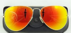RAY-BAN RB3026 AVIATOR กรอบแว่นกันแดดสีทองด้าน เลนส์สีเขียวฉาบปรอทสีแดงอมเหลือง
