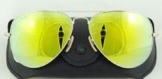 RAY-BAN RB3026 AVIATOR กรอบแว่นกันแดดสีทองด้าน เลนส์สีเทาฉาบปรอทสีเหลือง