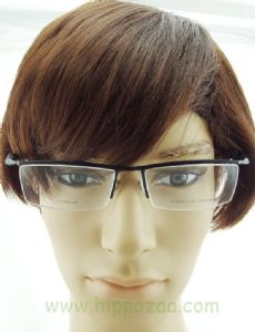 PORSCHE DESIGN ครึ่งกรอบแว่นตา Titanium Frame สีดำ ขาแว่นสีดำ